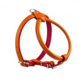 Harnais Cuir Orange / Rouge