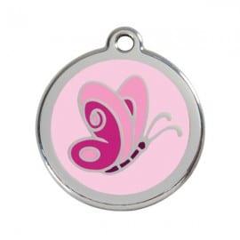 Médaille Rose Clair Motif Papillon pour chien ou chat