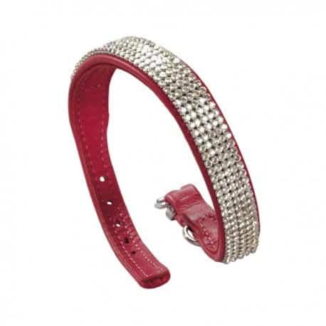 Collier Rouge en Strass et en cuir rouge pour chien