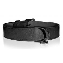 Collier Cuir Noir et Médaillon pour chien - collier noir en cuir